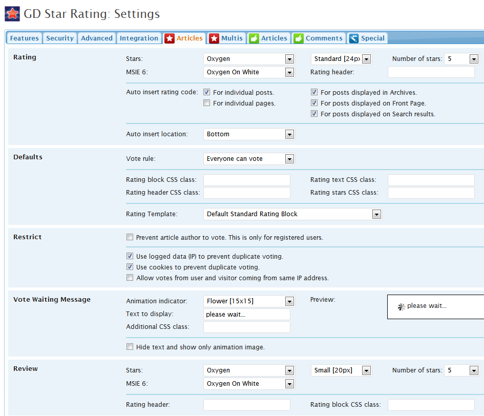 GD Star Ratings - Settings-Articles