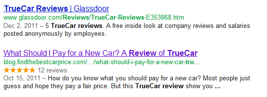 google rating stars example